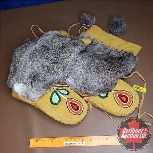 "Leather Fur Clad Beaded Mukluks (11""H)"