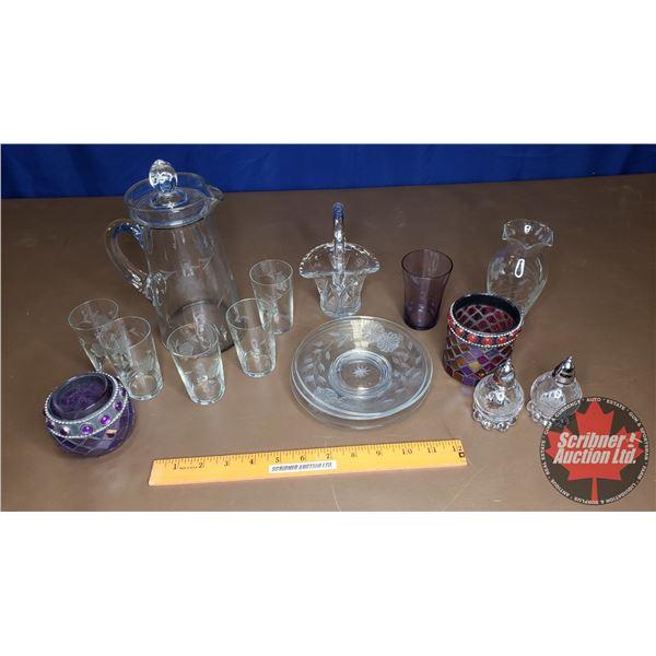 Tray Lot: Juice Set, S&P, Pinwheel Crystal Basket, etc