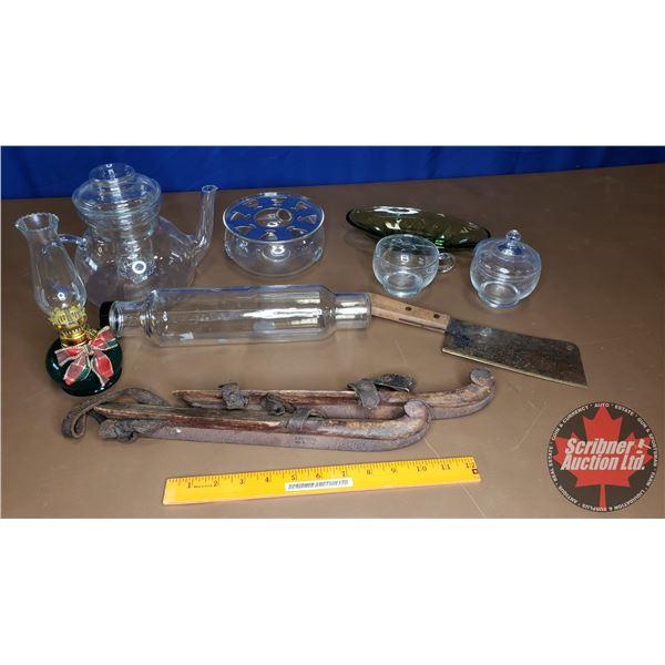 Tray Lot: Coal Oil Mini Lamp, Glass Tea Pot, Glass Rolling Pin, etc + Antique Bob Skates