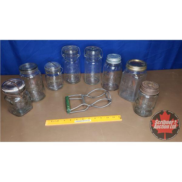 Tray Lot: Sealer Jars (8) & Lifter