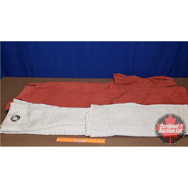 "Orange Rust & Sheer Cream Curtains (4 Panels Total) (84""H)"