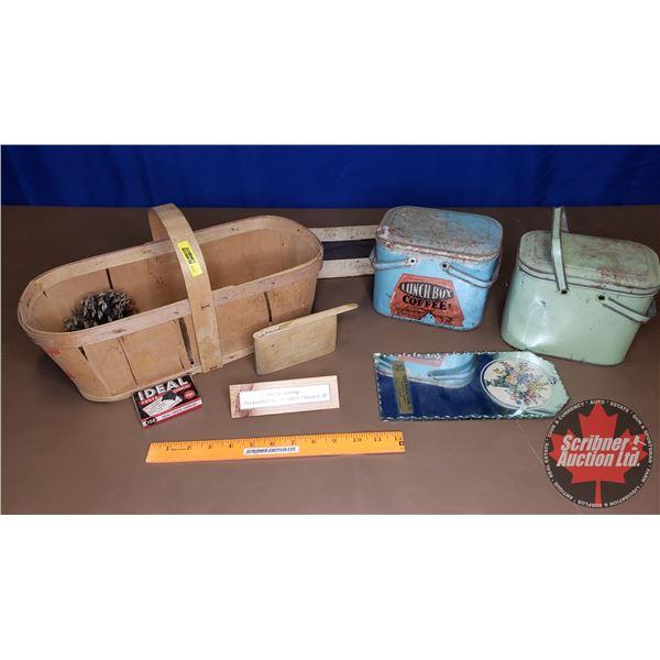 Coffee Lunch Boxes (2) & Grape Basket w/Pine Cone, Pencil Case, Photo Corners, etc