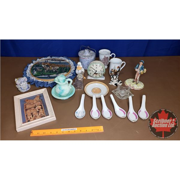 Tray Lot: Early Bird Alarm Clock, Avon Dish, Candle Holders, Deer Wall Clock, Puppy Picture, etc
