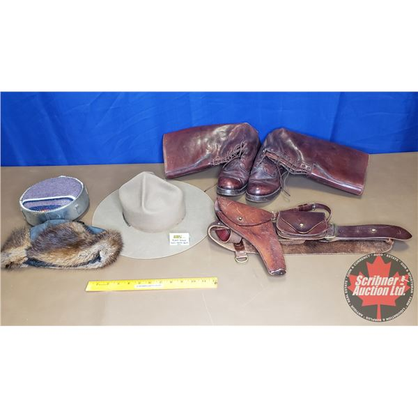 """RCMP Grouping (Boots 10"""", Leather Holster, Winter & Summer Hats & Canteen)"""