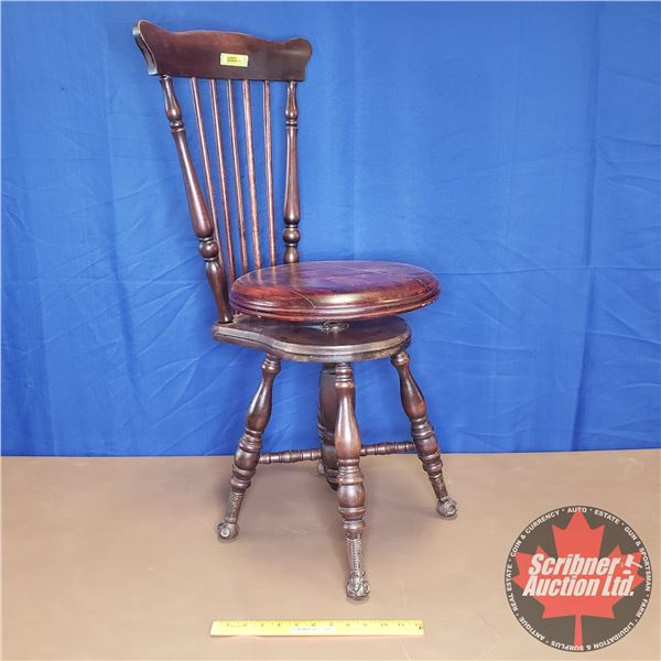 """Piano Stool w/Spindle Back & Glass Ball Foot (35""""H)"""
