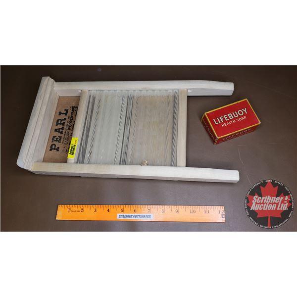 "Mini Pearl Washboard w/Bar of Soap (16""H x 8""W)"