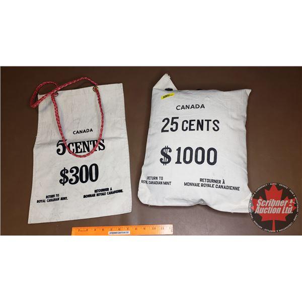 Canada Money Bags (2): 5¢ Bag & 25¢ Pillow