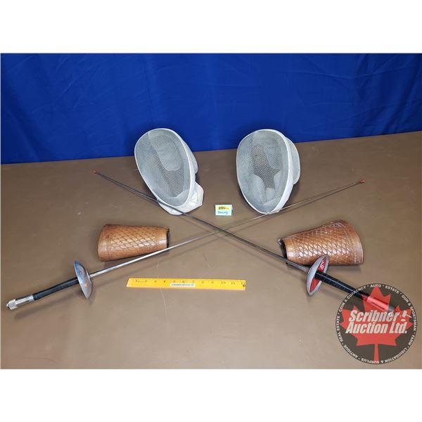 """Fencing Set (Paul) : Helmets (2), Swords (2), Cuffs (2) (Swords 43"""" L)"""