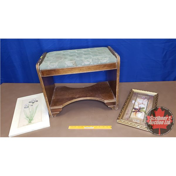 """Vanity Stool with Flower Theme Pictures (2) (18""""H x 22""""W x 13""""D)"""