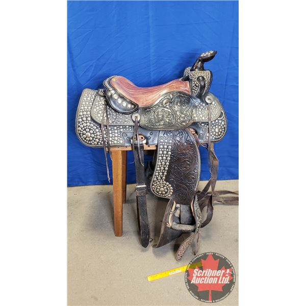 Dark Brown Floral Carved Parade Saddle w/Padded Seat & Various Nickel Spots (Circa 1950's-60's) Seat