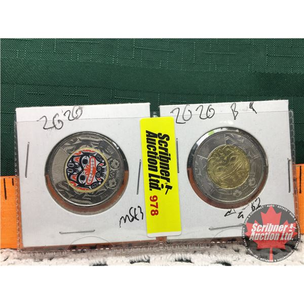 Canada Toonies (2) : Bill Reid 2020 Colorized & Non Colorized