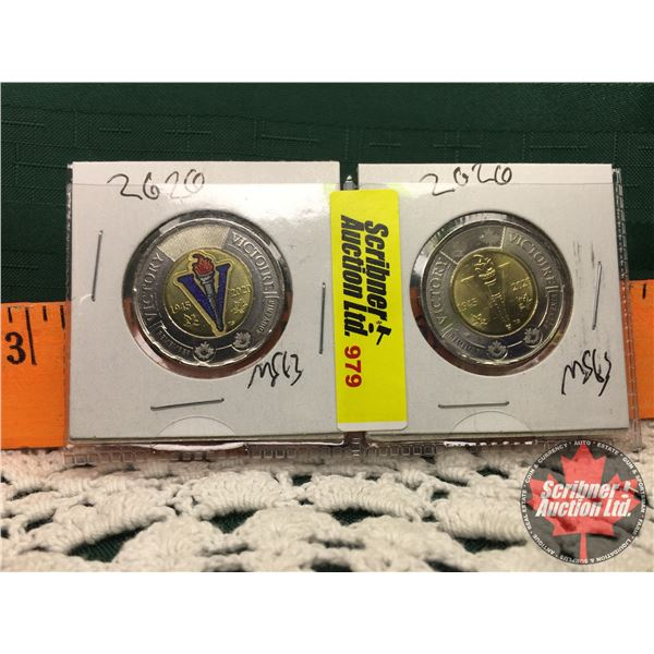 Canada Toonies (2) : Victory 2020 Color & Non Colorized