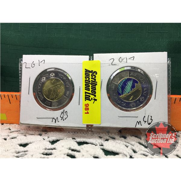 Canada Toonies (2) : Northern Lights 2017 Color & Non Colorized