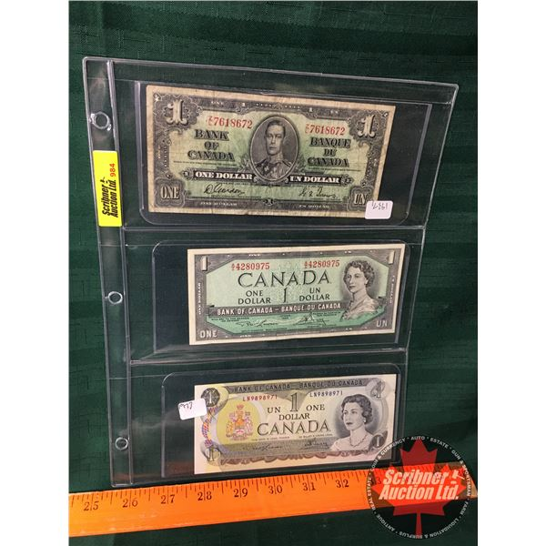 Canada $1 Bills (3): 1937, 1954, 1973  (See Pics for Signatures/Serial Numbers)