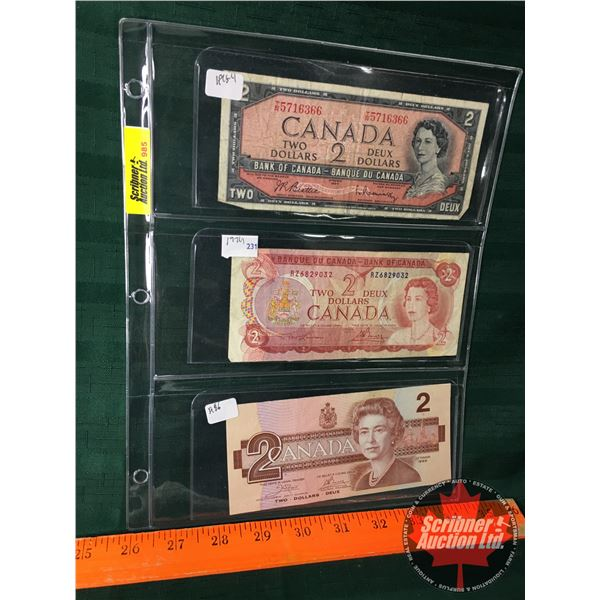 Canada $2 Bills (3): 1954, 1974, 1986  (See Pics for Signatures/Serial Numbers)