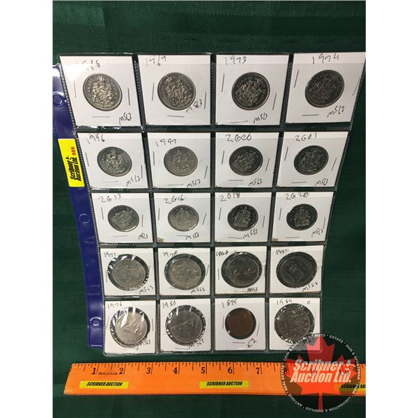 Canada Coins - Sheet of 20 : Fifty Cent 1918, 1969, 1973, 1974, 1996, 1997, 2000, 2001, 2013, 2016,