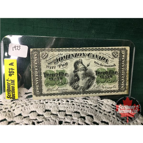 """Dominion of Canada 1870 Twenty Five Cent """"Shinplaster""""  (See Pics for Signatures/Serial Numbers)"""