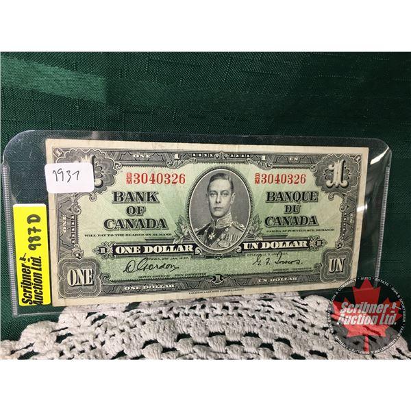 Canada $1 Bill 1937 : Gordon/Towers #BM3040326