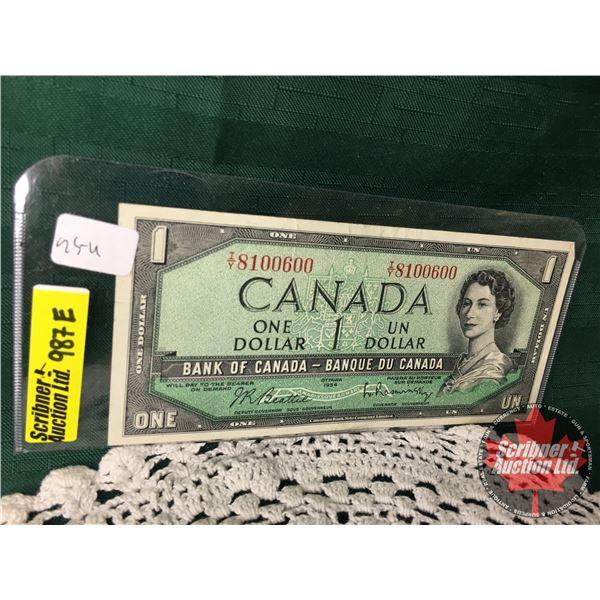 Canada $1 Bill 1954 : Beattie/Rasminsky #TY8100600