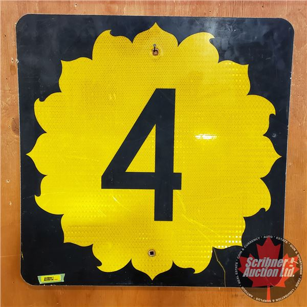"""Single Sided Metal Reflective Road Sign """" 4 """" (Kansas Hwy 4) (24""""H x 24""""W)"""