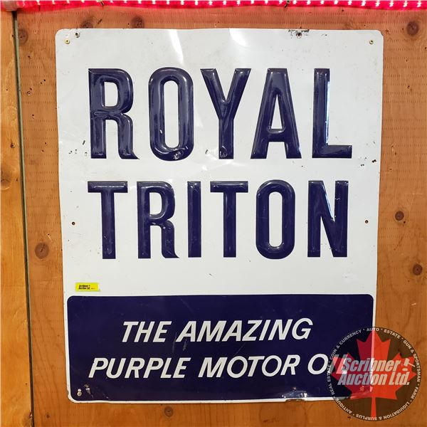 """Single Sided Tin Sign : Vintage : Royal Triton - Station Sign (Embossed) (28""""H x 24""""W)"""