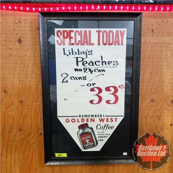 """Framed Vintage Grocery Store Special Advertisement (27""""H x 17""""W)"""