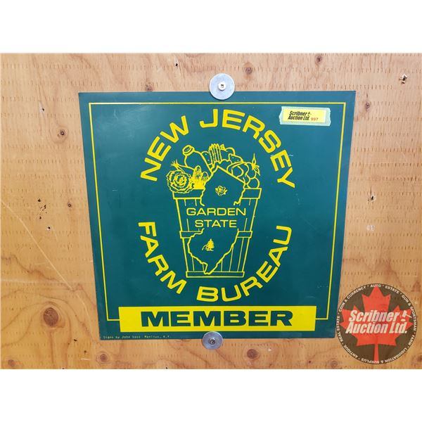"""Single Sided Tin Sign : """"New Jersey Farm Bureau Member"""" (Signs by John Voss Manlius, N.Y.) (11-1/4"""""""