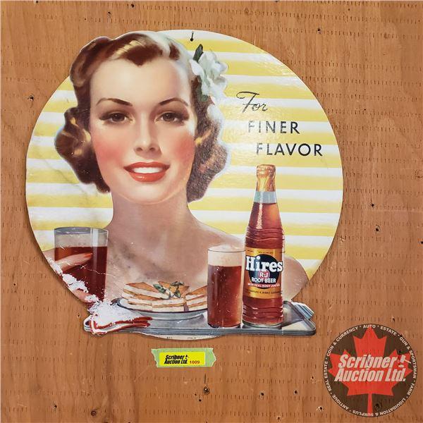 """Single Sided Cardboard Sign : Vintage """"Hires Root Beer"""" """"For Finer Flavor"""" (12"""" x 12"""")"""