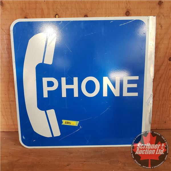 """Double Sided Alum """"PHONE"""" Sign (One rough side from being cut) (18""""H x 19""""W)"""