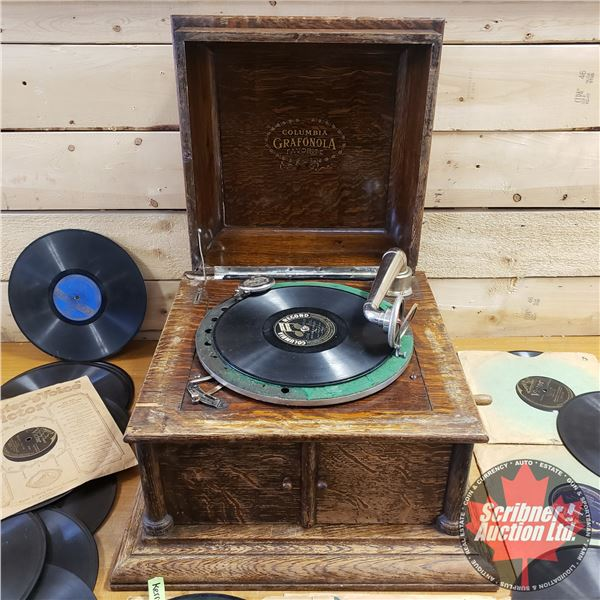 Columbia Grafonola Phonograph (Not Working) Comes With Variety of 78's