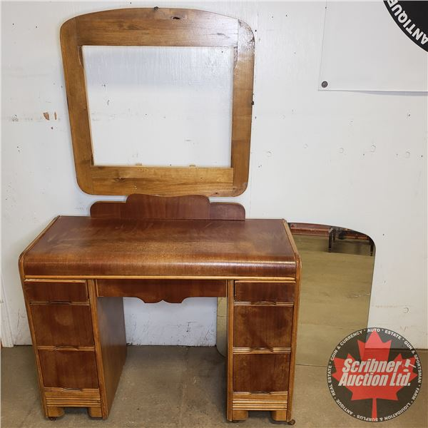 """Waterfall Front Vanity (Mirror is Cracked):  62""""H x 39""""W x 16""""D Comes With Extra Mirror (36""""H x 28""""W"""