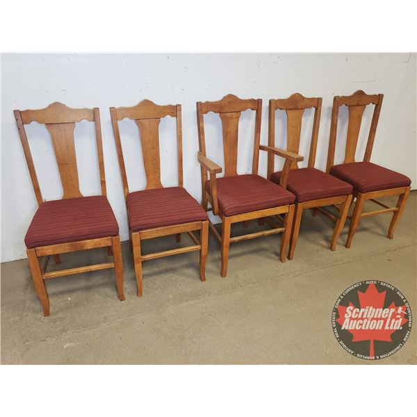 Wooden Chairs (5):  With Padded Burgundy Seats
