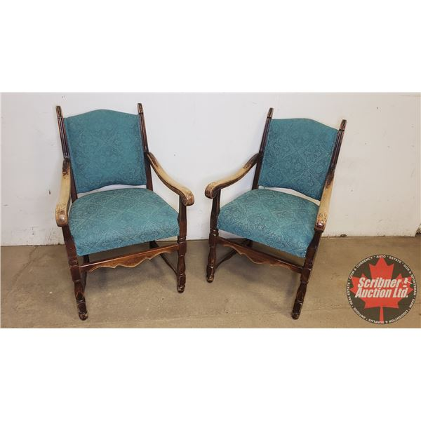 Wooden Arm Chairs (2): With Padded Teal Seats