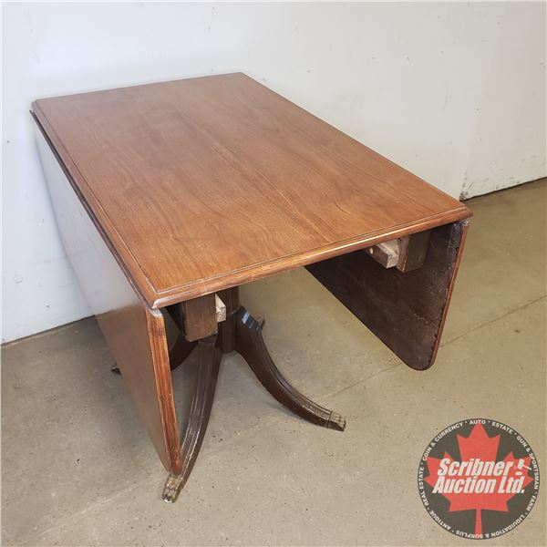 "Duncan Phyfe Style Drop-leaf Pedestal Table: 31""H x 36""W x 23""D (leaf down) 54""D (leaf up)"
