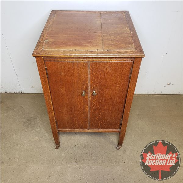"""Wood Record/Music Cabinet:  31""""H x 19""""W x 21""""D"""
