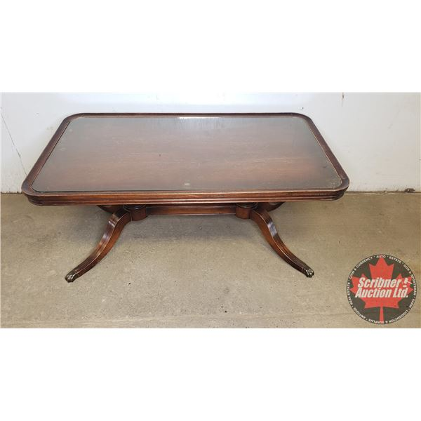 """Duncan Phyfe Style Trestle Coffee Table: With Glass Top 17""""H x 38""""W x 21""""D"""
