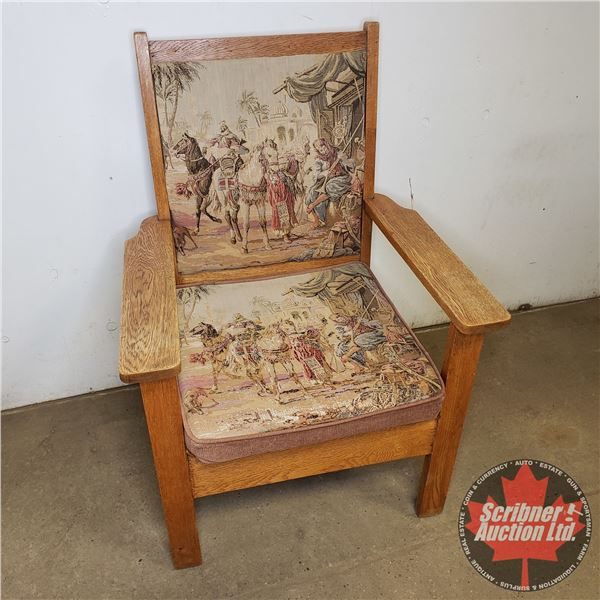 Oak Wood Chair With Tapestry (Needs Work)