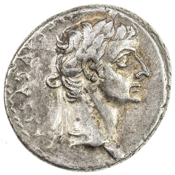 ROMAN EMPIRE: Tiberius, 14-37 AD, AR denarius (3.78g), Lugdunum, 36-37 AD. VF