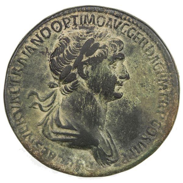 ROMAN EMPIRE: Trajan, 98-117 AD, AE sestertius (22.95g), Rome, 112-114 AD. F-VF
