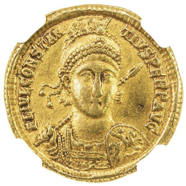 ROMAN EMPIRE: Constantius II, 337-361 AD, AV solidus (4.51g), Antioch, 355-361. NGC EF