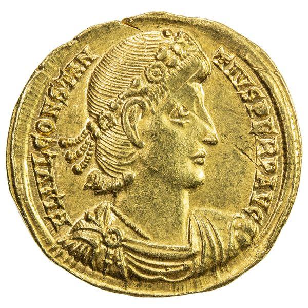 ROMAN EMPIRE: Constantius II, 337-361 AD, AV solidus (4.47g), Nicomedia. EF