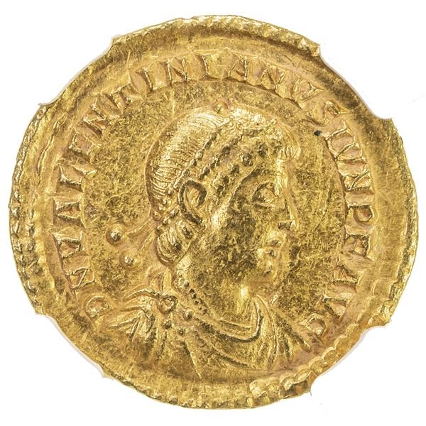 ROMAN EMPIRE: Valentinian II, 375-392, AV solidus (4.45g), Treveri (Trier), 373-375. NGC AU