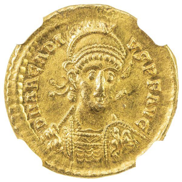 ROMAN EMPIRE: Arcadius, 383-408, AV solidus (4.40g), Constantinople, 402-403. NGC AU