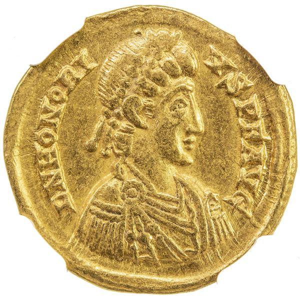 ROMAN EMPIRE: Honorius, 393-423, AV solidus (4.39g), Ravenna, 402-406. NGC EF