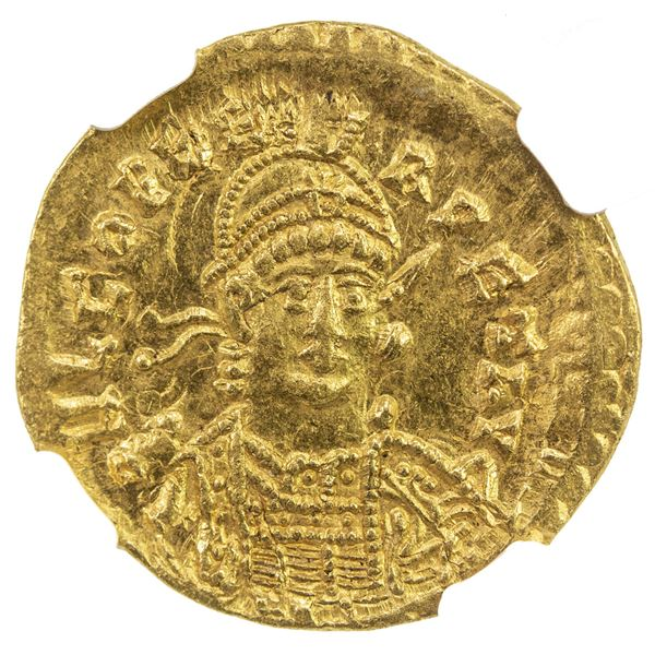 ROMAN EMPIRE: Leo I, 457-474, AV solidus (4.46g), Constantinople. NGC AU
