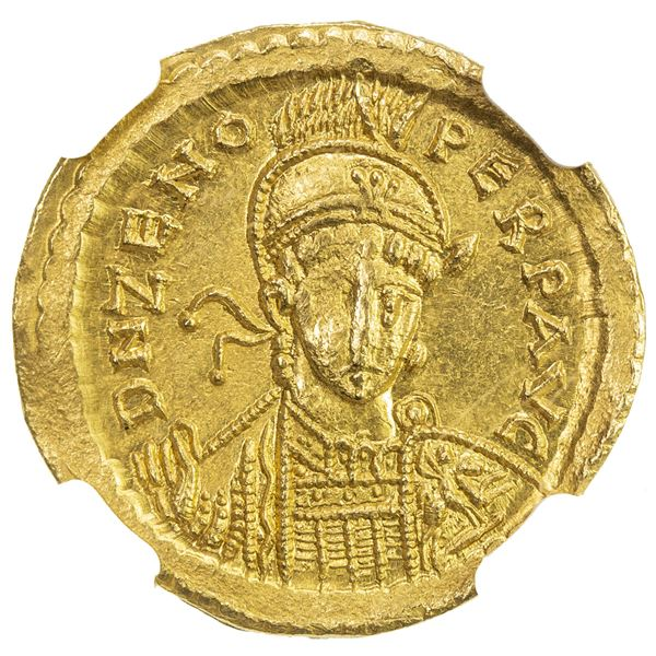 ROMAN EMPIRE: Zeno, 2nd reign, 476-491, AV solidus (4.48g), Constantinople. NGC MS