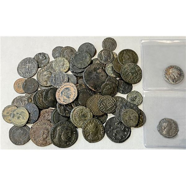 ROMAN EMPIRE: LOT of 2 silvers & 67 coppers