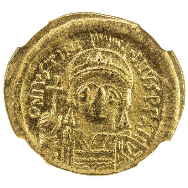 BYZANTINE EMPIRE: Justinian I, 527-565, AV solidus (4.50g), Constantinople. NGC MS