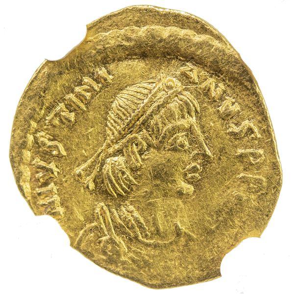 BYZANTINE EMPIRE: Justinian I, 527-565, AV tremissis (1.41g), Constantinople. NGC AU