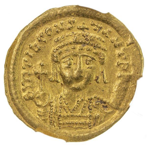 BYZANTINE EMPIRE: Tiberius II Constantine, 578-582, AV solidus (4.50g), Constantinople. NGC AU